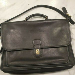 VTG Coach Shoulder Laptop Bag Black Leather